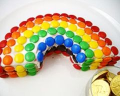 M&M rainbow cake.. just think I could make a double rainbow wooow