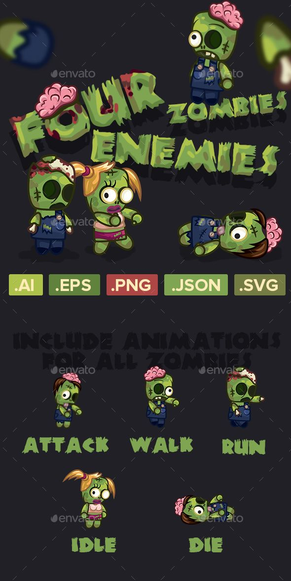 four zombies characters sprite sheets sprites game assets game