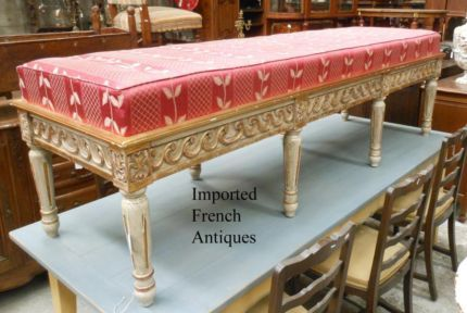 VINTAGE FRENCH LOUIS XVI UPHOLSTERED -- ORNATE OTTOMAN / DAYBED