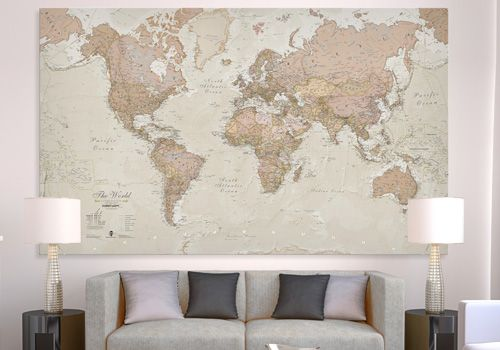 Huge Antique World Map Canvas, WM1243, Maps International