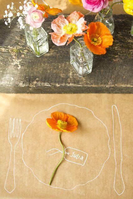 Tolle Idee: selbstgemaltes Tischset auf einfachem Packpapier