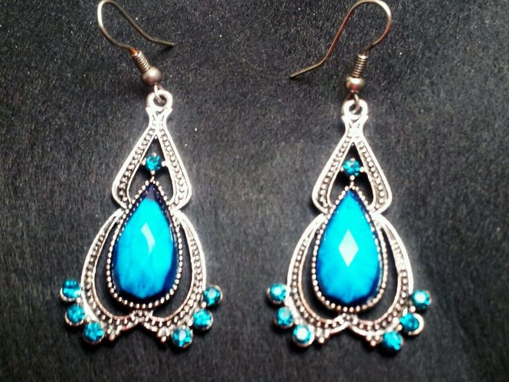 New Chandelier Antique Silver Blue Turquoise Crystal Rhinestones Earrings Party #Chandelier