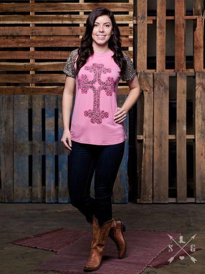 Tina Cross Pink Short Sleeve Top