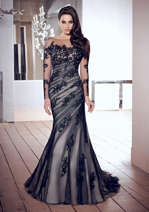 Trumpet/Mermaid Square Long Sleeves Embroidery Applique Tulle Evening Dress