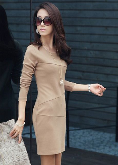 Shirred Waist Khaki Dress with Long Sleeve