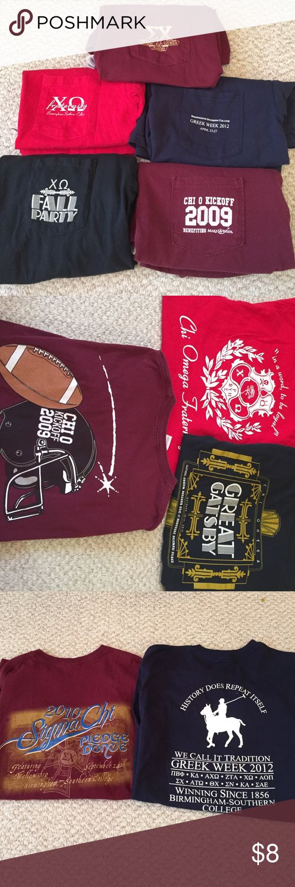 Sorority/fraternity tshirts Top row: size S, gildan brand, short sleeve, maroon color. Second row: size S, Hanes brand, short sleeve, red color. Size M, gildan brand, short sleeve, navy blue color. Third row: size M, comfort colors brand, short sleeve, black color. Size M, gildan brand, short sleeve, maroon color. All individually 8 but will bundle. Comfort colors  Tops Tees - Short Sleeve