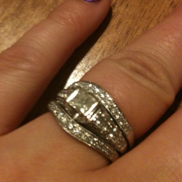 Engagement ring and wedding bands from helzberg