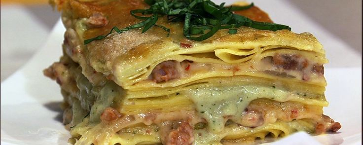 best purses White lasagna with spicy Italian sausage and pesto
