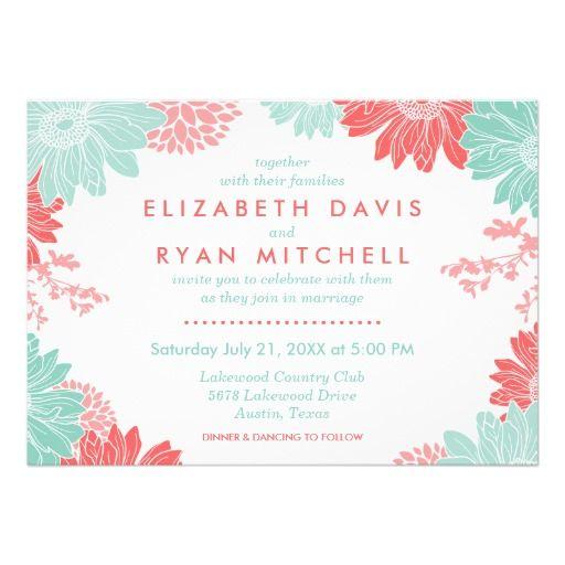 コーラル & ミントが綺麗な結婚式招待状。#zazzle #結婚式 #ウェディング