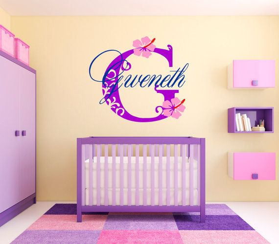 $34.95 - $104.95 / Personalized Wall Decal Girls Name Decal Hawaiian by SignJunkies