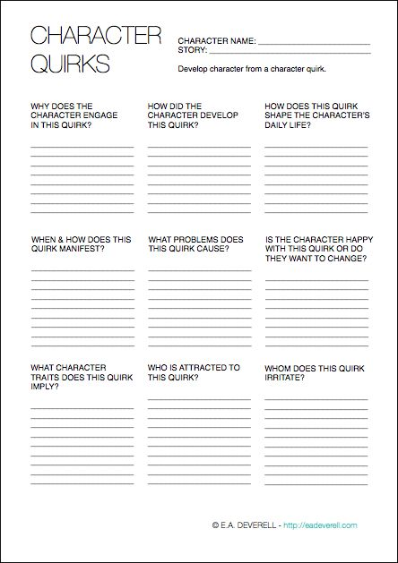 Use the first page of this writing worksheet to develop a character from a character quirk, and the second page to record quirks you notice IRL...