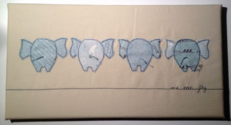 We can fly! Love these freehand machine stitched elephants bottoms! One for the Bury St Edmunds Christmas Fayre 28 Nov to 1st Dec 2013.... unless it sells for £20 before then!!! www.sarahstitches.co.uk