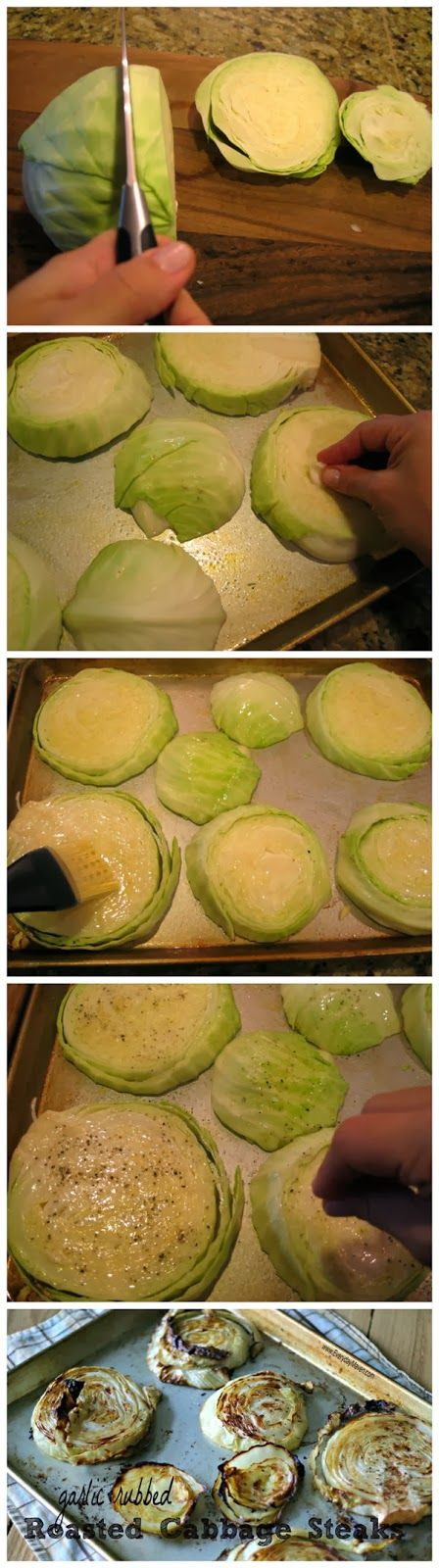 "Garlic Rubbed Roasted Cabbage Steaks Recipe ♦ 2lb head cabbage, 1"" slices • 1½ Tbs olive oil • 2-3 large garlic cloves, smashed • salt • black pepper • olive oil spray OR non-stick cooking spray ♦ 400º ♦ spray pan, rub both sides w/ garlic, spread olive oil both sides, sprinkle salt n pepper both sides ♦ 30 min each side until lightly brown and crispy. Adapted from Martha Stewart recipe: http://www.marthastewart.com/315062/roasted-cabbage-wedges (says roast 40-45 min)"