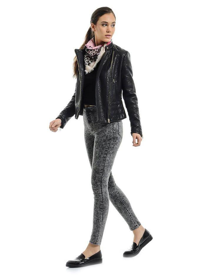 Kar Yıkama Yüksek Bel Skinny Siyah Bayan Kot Pantolon MC07280914176