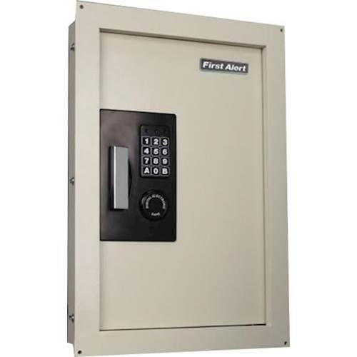 First Alert - 0.3-0.9 Cu. Ft. Expandable Antitheft Wall Safe with Electronic Keypad Lock