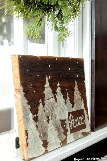 Easy Snowy Woods Christmas Sign by Beyond The Picket Fence, made with Funky Junk's #oldsignstencils #christmas #christmassigns