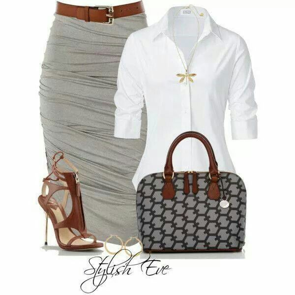 Very cute grey rouched grey skirt, white quarter sleeve button down. <3