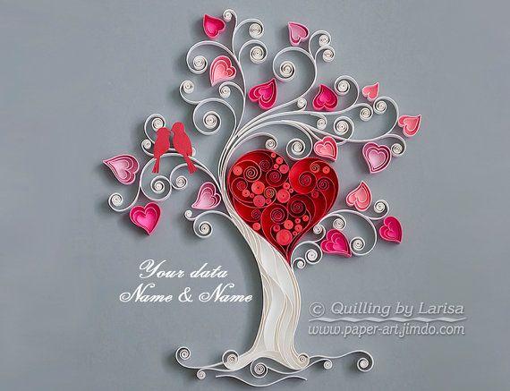 Arte de la pared del encañonado Quilling amor por QuillingbyLarisa