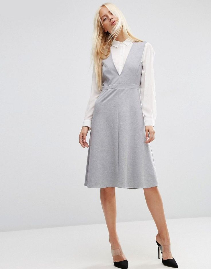 Image 1 of ASOS Midi Layering Pinafore Dress