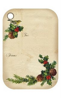 Free printable Christmas gift tags...I really like these...even a bird on them...