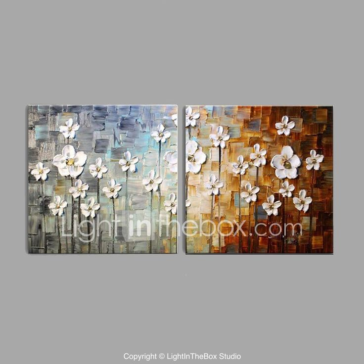 Pictat manual Floral/Botanic Orizontal,Pastoral Stil European Două Panouri Canava Hang-pictate pictură în ulei For Pagina de decorare 5893958 2017 – $73.59