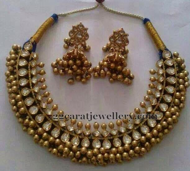 Tussi Necklace with White Kundans | Jewellery Designs