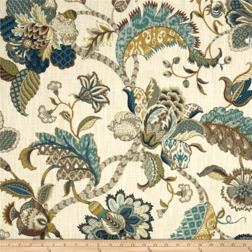 Finders Keepers French Blue Jacobean Flroal Fabric   eBay