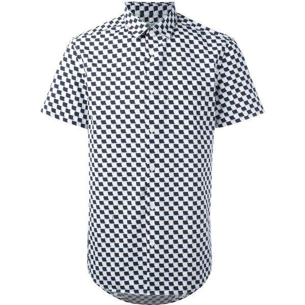 Kenzo geometric print shirt (1,135 MYR) via Polyvore featuring men's fashion, men's clothing, men's shirts, men's casual shirts, white, mens short sleeve shirts, mens collared shirts, men's curved hem t shirt and mens white shirts