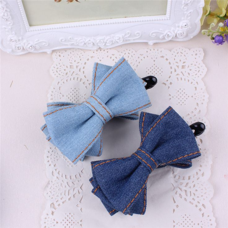12pcs/lot Two Layers Solid Color Denim Bow Banana Hair Clip for Women High Quality Denim Bow Barrettes for Girls Free Shipping #Affiliate