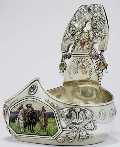 Russian Silver Enamel Kovsh (a cup) that is a replica of medieval Russian dishware. In addition a miniature on the 'kovsh' describes the famous Slavic fairy tale's heroes, as three knights, that defended Russia in the 10-11th centuries.