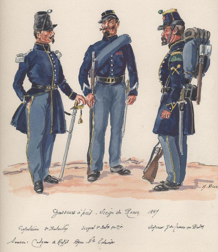 Siege Of Rome 1849; Chasseurs a Pied L to R Captain 2nd Battalion, Sergeant 1st Battalion & Sapper Grand Tenue 1st Battalion.