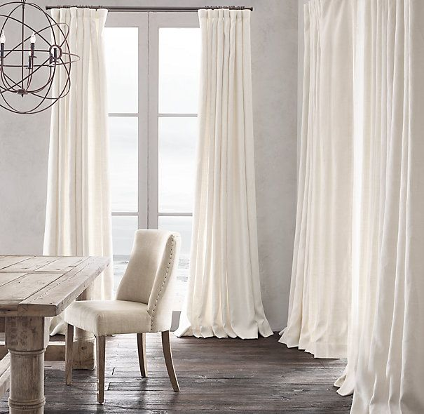 Belgian Heavyweight Textured Linen Drapery. I like these the best, in  white. I