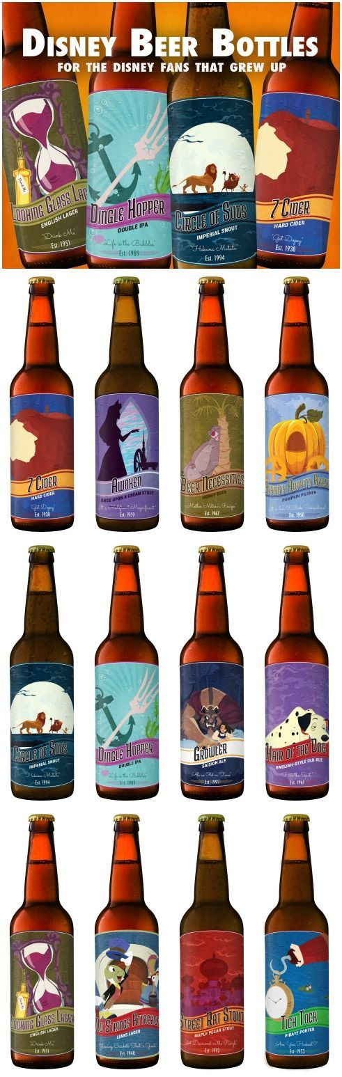 Printable Disney beer labels for the adult Disney lover! [FREE!] disney crafts for adults #disney