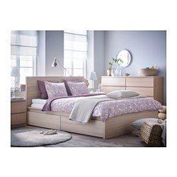 IKEA - MALM, Cadre de lit, haut, 2 rangements, , Les 2 grands tiroirs sur roulettes offrent un espace de rangement supplémentaire sous le lit.Le placage en bois assurera une belle patine de la structure de lit.Les côtés de lit réglables permettent d'utiliser des matelas d'épaisseurs différentes.