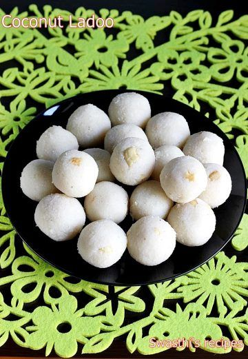 Coconut ladoo recipe, a popular Indian festive delight made with milk, sugar and coconut. Learn to make easy coconut ladoo recipe with step by step photos