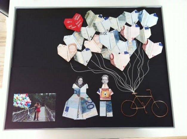 Trouwcadeau dat we maakten voor Tommy en Sara ==> Hij vroeg haar super romantisch ten huwelijk met de ballonnen van in de film 'UP'.. vandaar het concept! ** Geld vouwen **