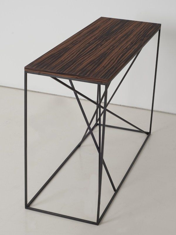 rectangular steel and wood console table mikado console table interni edition