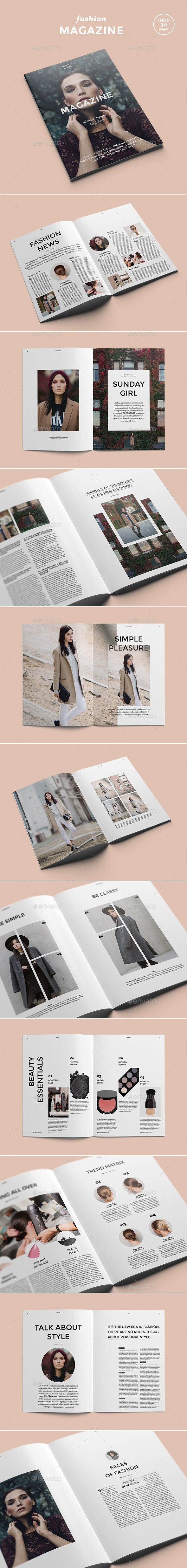 Minimalist and clean 30 pages magazine template.   See magazine page by page    FEATURES:   30 pages of magazine layout   Character and Paragraph styles  Automatic page numbering  Text and images p...
