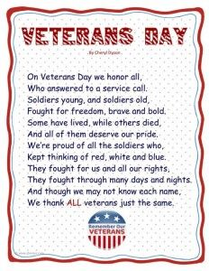 Happy Veterans Day Poems Songs