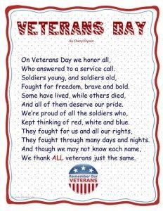 Happy Veterans Day Poems Songs