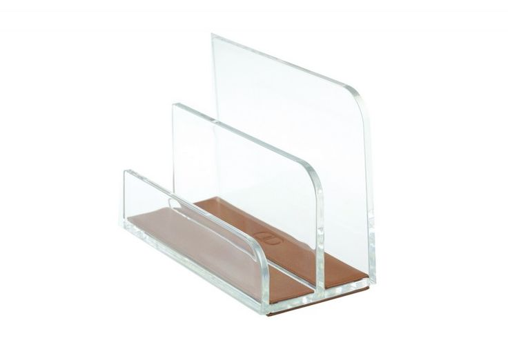 """BRIEFSTÄNDER Acryl/Leder """"MANHATTAN"""" Moderner und stilvoller Briefständer für Ihren Schreibtisch, aus einer Acryl/Leder Kombination. (Lieferung ohne Inhalt) Hochwertige Verarbeitung des Leders auf der Boden Unter- und Oberseite Größe: ca. 16 cm x 8 cm x 11 cm hoch"""