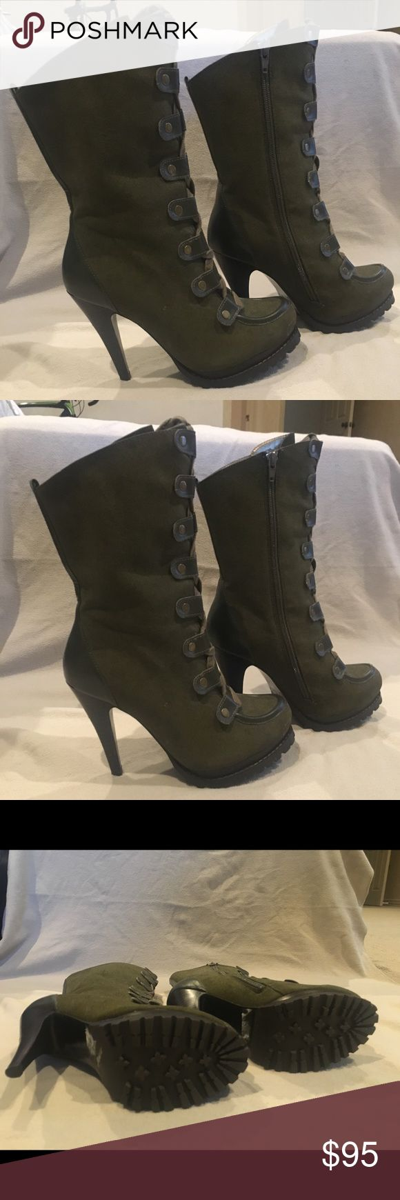 "Charles David Boots Charles David mid-calf Boots; Khakhi green; size 7.  4.25"" heel with 1/2"" platform   In one word, I've got to say they are 'STUNNING'!!! Can't walk in such high heels so I have to let them go! 😢 Charles David Shoes Heeled Boots"