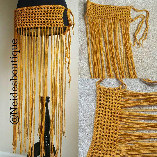 Belly dance skirt, LONG Fringe bathing suit golden yellow bikini cover,Beach skirt,Swimsuit cover up,crochet cover up bikini cover,Bohochic