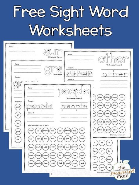 Free sight word worksheets Sight Words Pinterest Sight word
