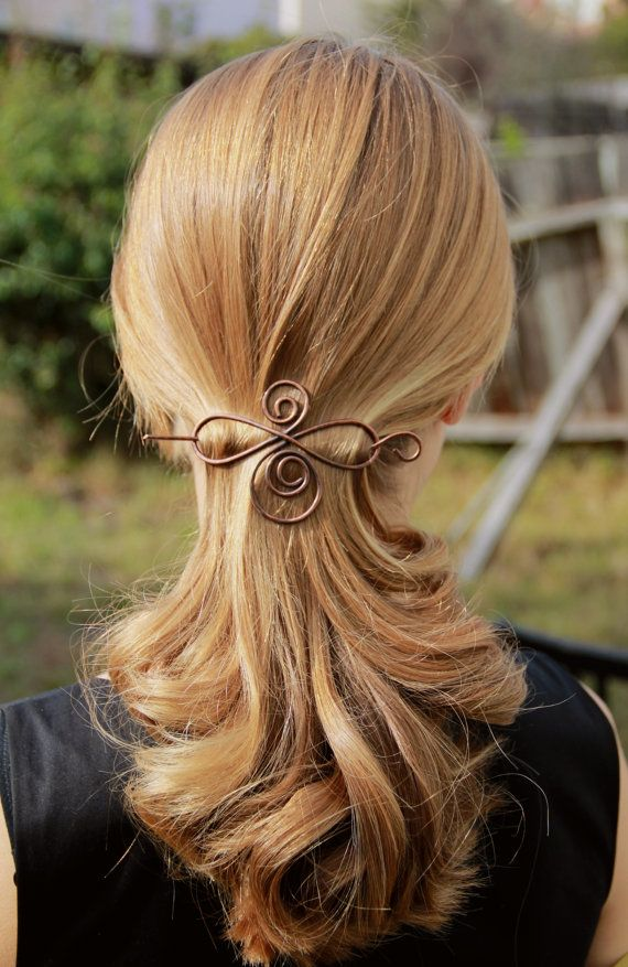 Rustic copper hair barrette wire hair slide ponytail holder hair pin hair clip mother's day gift woman's accessories for her fall fashion