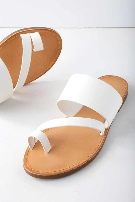 1e90d952d The Avena White Flat Sandals make your farmer s market trek extra cute! A  wide