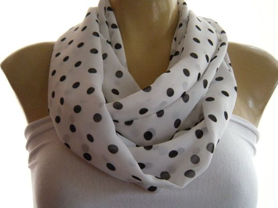 Polka Dot infinity scarf White and Black  polka dot cowl  Necklace scarf chiffon scarf with polka dots Tube version
