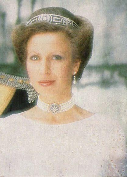 Princess Anne, meander tiara, taken at Gatcombe Park ...