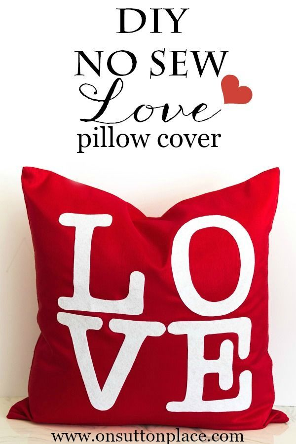 DIY No Sew Valentine's LOVE Pillow Cover | easy tutorial with pics and the link to the letter templates! | onsuttonplace.com