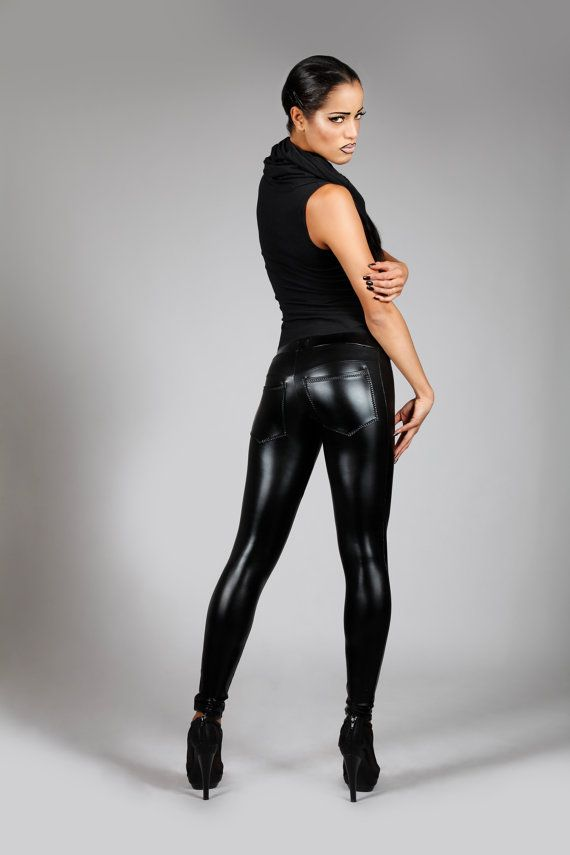 Lederen broek w. Jeans terug zwarte Spandex door LenaQuistDesign